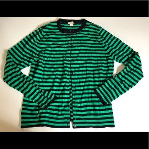 J Crew The Caryn Cardigan Navy and Green Striped